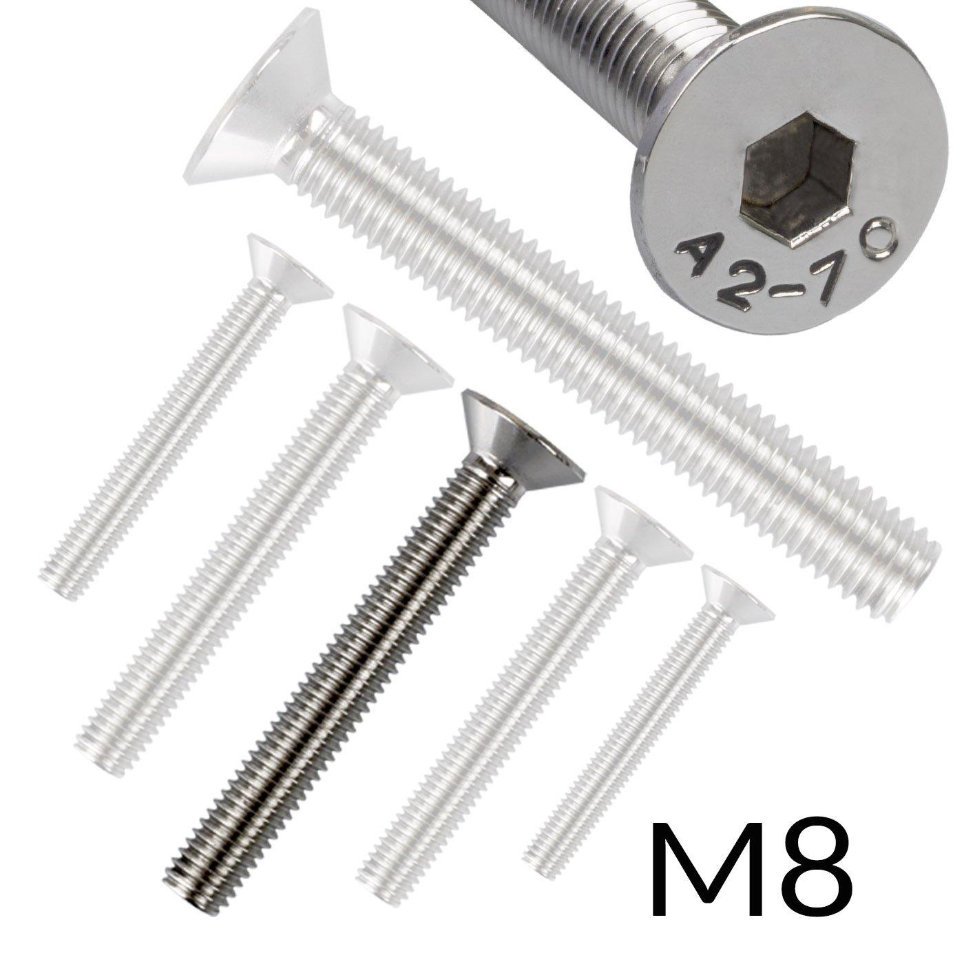 10 Senkkopfschrauben mit Innensechskant Edelstahl M 10 x 30 mm Vollgewindeschrauben Schrauben DIN 7991 A2