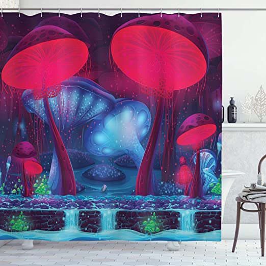 Vibrant Neon Magic Mushroom Graphic Enchanted Forest Theme Shower Curtain Set