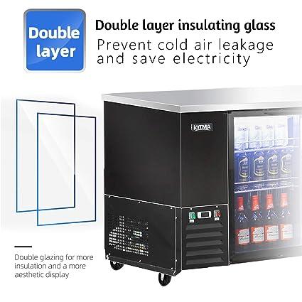 Refrigerador de puerta de vidrio con 3 puertas y barra trasera ...
