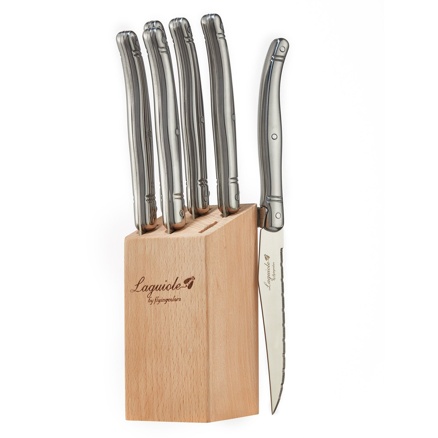 FlyingColors Laguiole Steak Knife Set, Micro Serrated Blade, Stainless Steel, Beech Wood Block, 6 Pieces