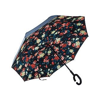 Paraguas Reversible, Paraguas Gran Lluvia y Lluvia Paraguas Largo Paraguas Plegable Paraguas Anti-hueso