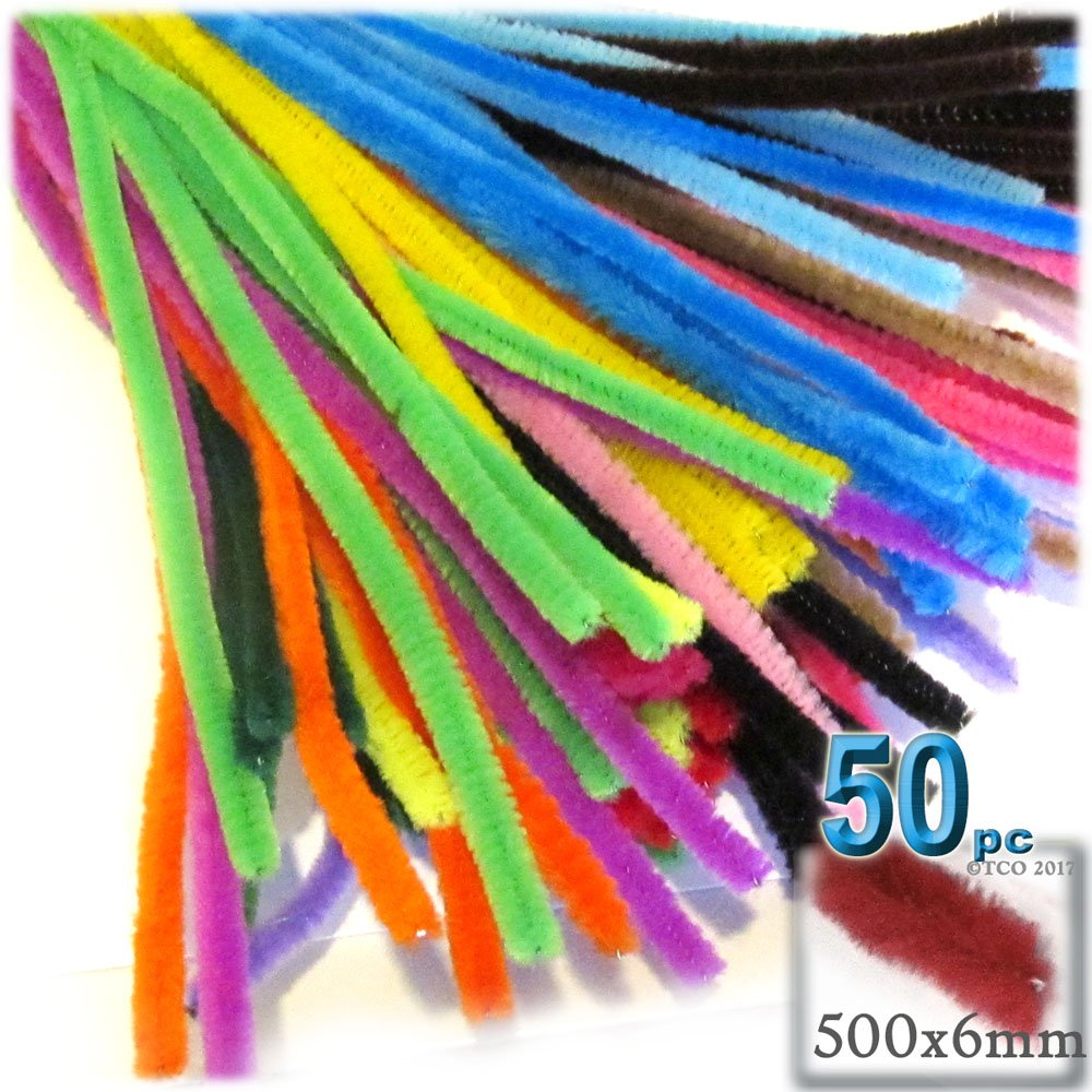 The Crafts Outlet Chenille Stems, Pipe Cleaner, 20-inch (50-cm), 50-pc, Mixed Pack
