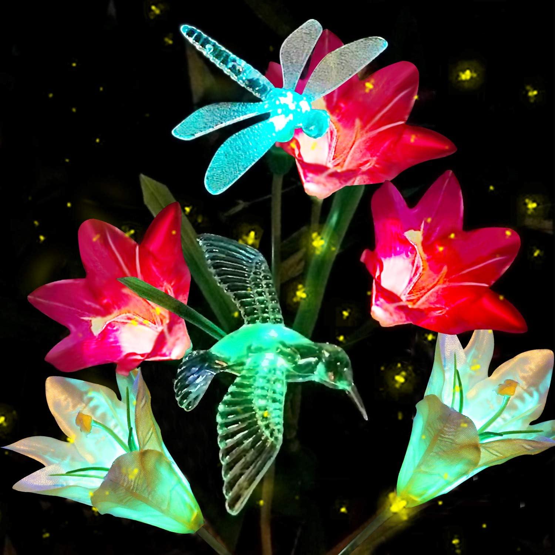 Winterworm Orange Solar 4 LED Lily Flower Light Outdoor Garden Lawn Color Changing Lamp