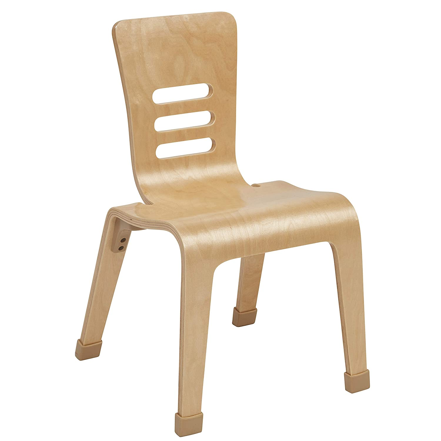 ECR4Kids 10 Bentwood School Stacking Chair for Students 2-Pack Natural