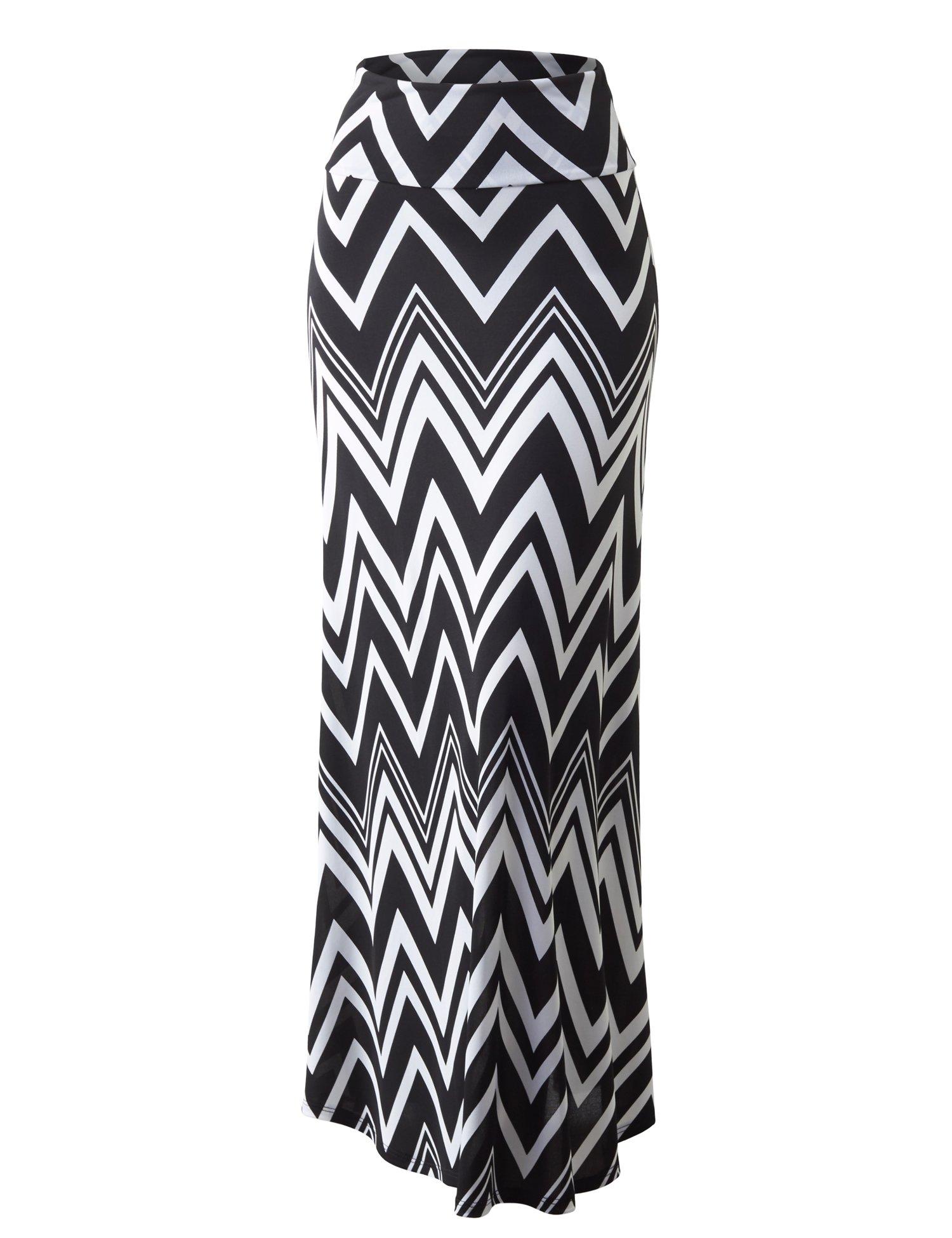 Lock and Love WB1191 Womens Chevron Print Maxi Skirt XXXL Black_White
