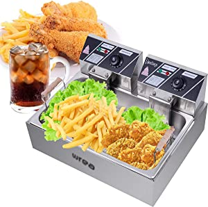Deep Fryer Tank 5000W Max Stainless-Steel Basket Electric Fryer with Timer Free Extra Odor Filter,23.26Qt/22L Oil Fryer Oil Filtration for Commercial Restaurant Countertop Kitchen Adjustable Temp
