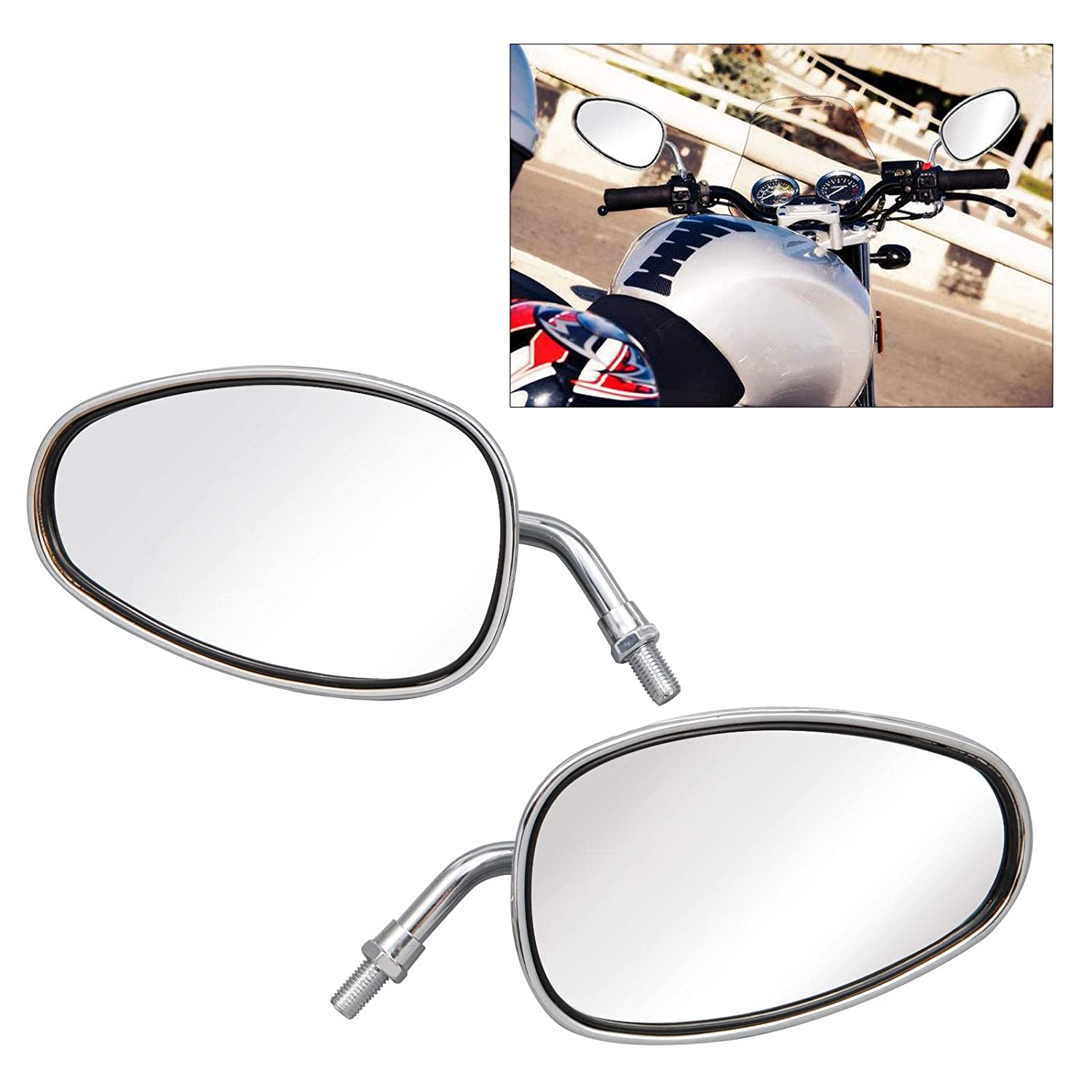 SurePromise Motorcycle Aluminum Side Rear View Mirror 10MM Chrome Silver Large for Scooters Street Bike Motorbike