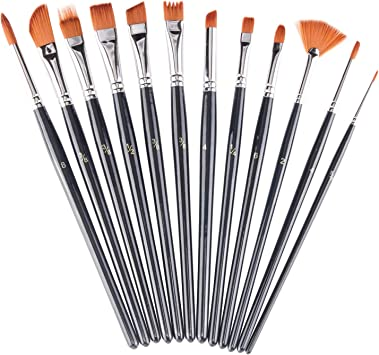 12 Piece Artist Brushes Set Pointed Arts Craft Paint Painting Brush Set