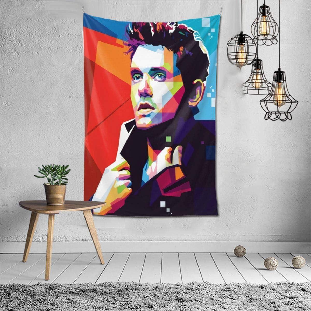 Lawenp John Mayer Tapiz Negro para Colgar en la Pared, Cortina única artística para decoración del hogar Personalizada de la habitación, 60 x 40 Pulgadas