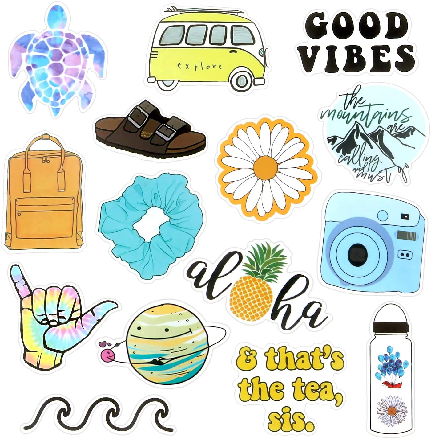 VSCO Stickers for Water Bottles, Trendy Aesthetic Laptop Stickers, Waterproof Stickers Vinyl Stickers for Teens VSCO Girl Essential Stuff Cute Stickers for Hydroflasks Computer Photo Sharing