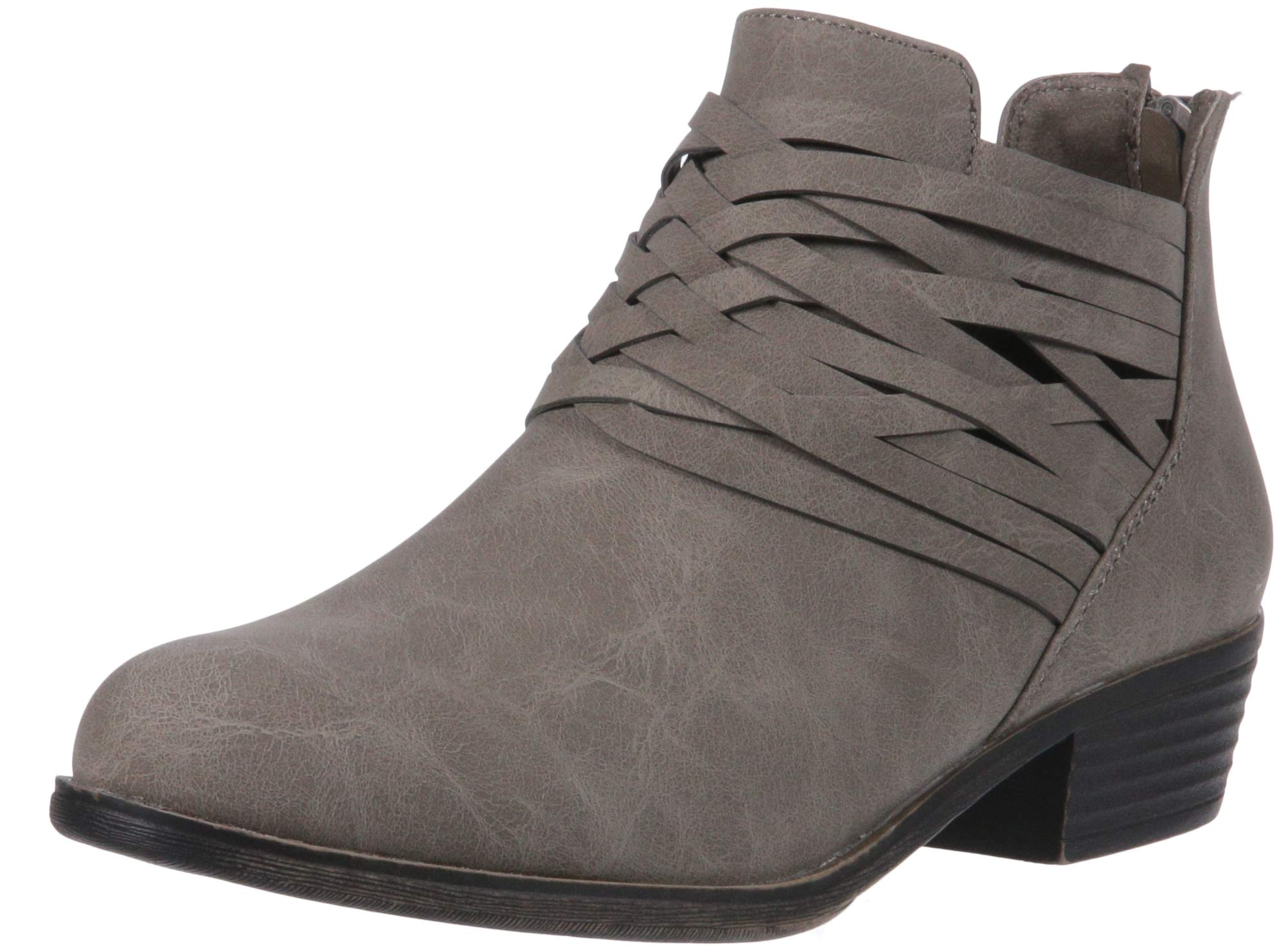 Sugar Women's Rhett Casual Boho Short Bootie with Criss Cross Straps Ankle Boot, Grey Distressed, 9 Medium US by Sugar (Image #1)