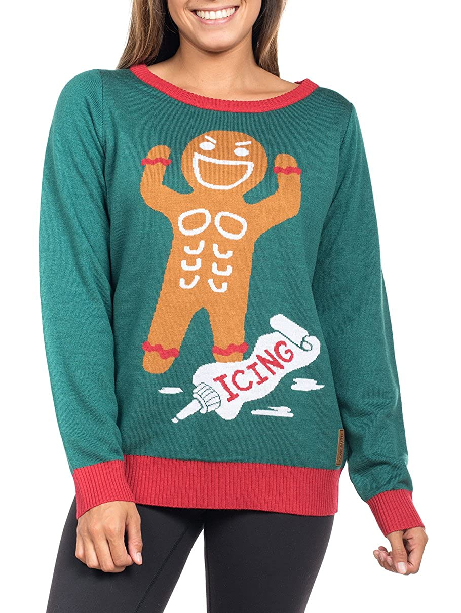 8a69b2a4ec Amazon.com  Tipsy Elves Women s Gingerbread Man Roid Rage Sweater - Funny Ugly  Christmas Sweater  X-Large Green  Clothing