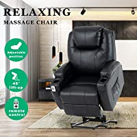 Advwin PU Leather Electric Lift Massage Chair Recliner with Remote Control, Adjustable Heat, and 45-140 Degrees, with…