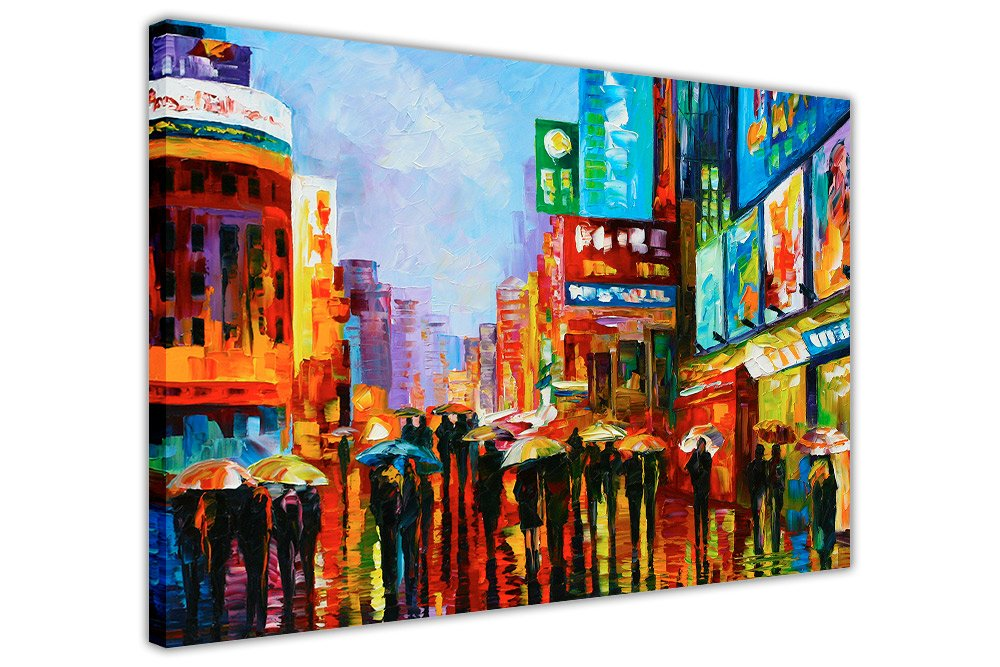 Canvas It Up Lumières de Down Town New York par Leonid Afremov Murale Impressions sur Toile encadrée Images Art Moderne Affiches Format: A4–30, 5x 20, 3cm (30cm x 20cm)