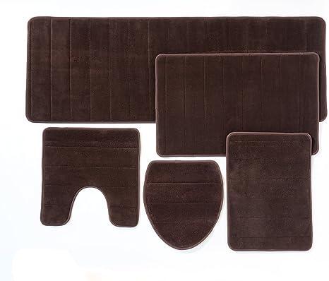 Amazon Com Over The Floor Bathroom Rug Mat 5 Piece Set Memory Foam Extra Soft Non Slip Back Color Brown Pantone 19 1213 Tpx Kitchen Dining