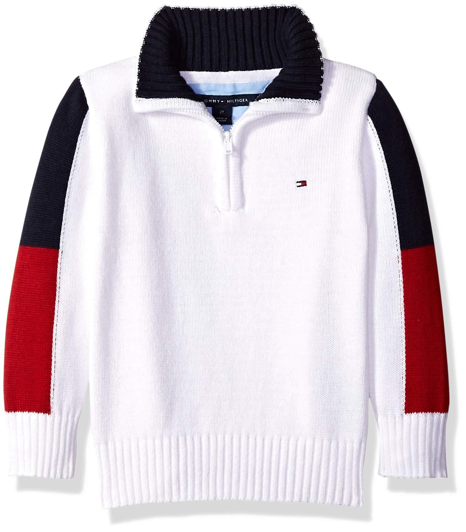 Tommy Hilfiger Toddler Boys' Long Sleeve Half Zip Pullover Sweater, Eddie Snow White, 4T