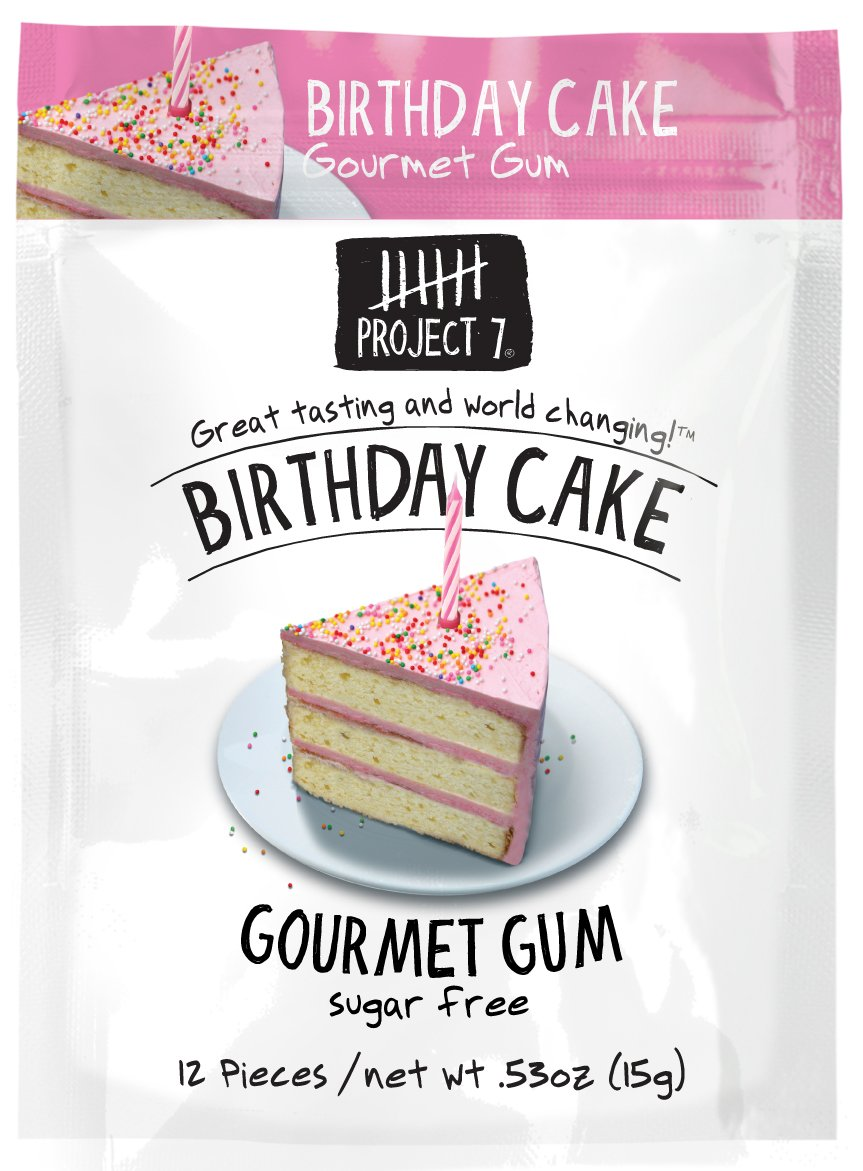 Amazoncom Project 7 Sugar Free Gum Birthday Cake 12 Pouches
