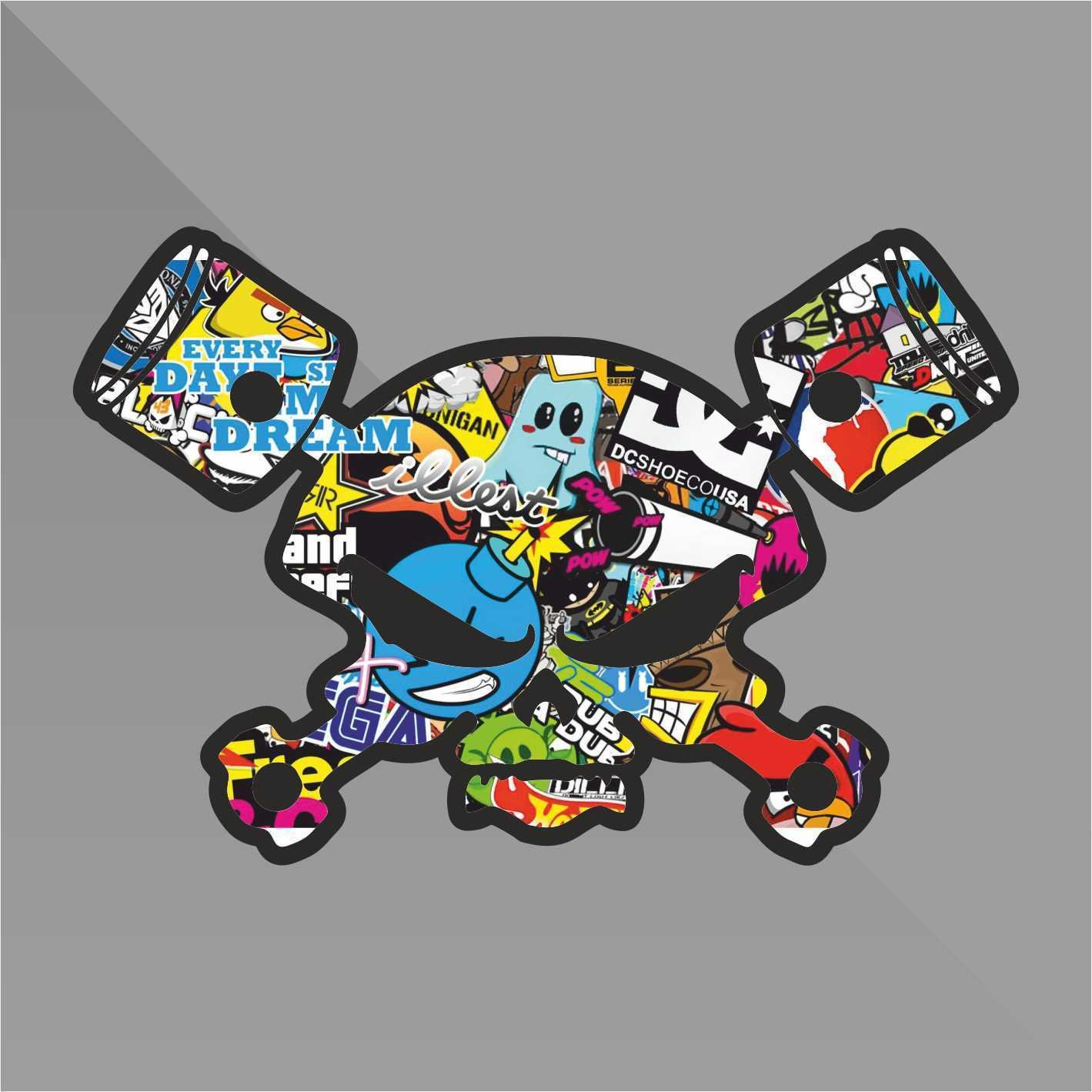 Sticker Bomb Teschio Skull Crâ ne Crá neo Schä del Pistoni Pistons Punisher - Decal Auto Moto Casco Wall Camper Bike Adesivo Adhesive Autocollant Pegatina Aufkleber - cm 10 erreinge