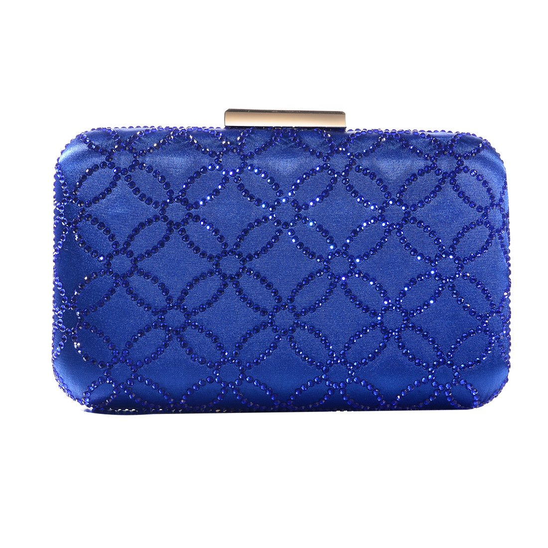 DMIX Womens Large Satin Silk Hard Clutch Evening Bag and Handbags with Crystal for Wedding Bridal Party Prom Royal Blue