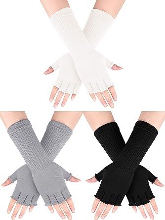 Women/'s Ladies Wool Grey Gloves Soft Long Cuff Length Winter arm Finger warmers