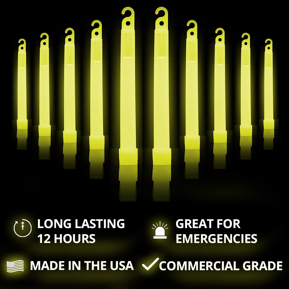 Cyalume SnapLight Yellow Light Sticks – 6 Inch Industrial Grade, High Intensity Glow Sticks with 12 Hour Duration (Pack of 20) by Cyalume (Image #2)
