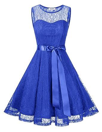 KOJOOIN Damen Spitzenkleid Abendkleider Cocktailkleid Brautjungfernkleider  für Hochzeit Kurzes Midikleid(Verpackung MEHRWEG)  Amazon.de  Bekleidung 455f5f2c90