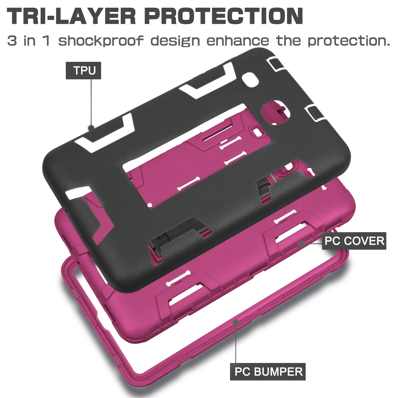 Samsung Galaxy Tab E 8 0 Case,XIQI Three Layer Hybrid Rugged Heavy Duty  Shockproof Anti-Slip Case Full Body Protection Cover for Tab E 8 0  inch,Black