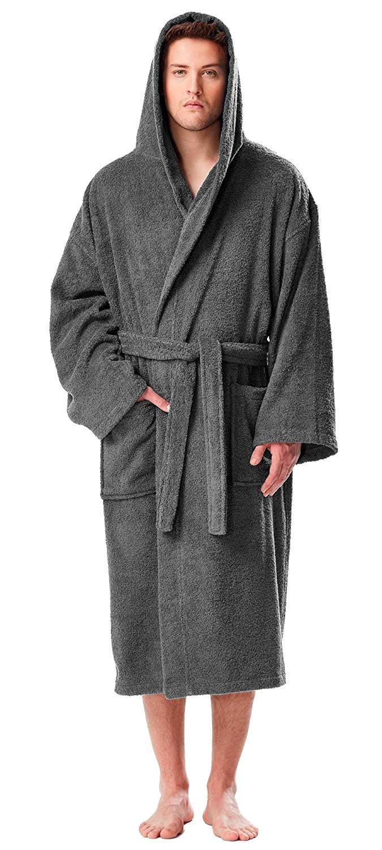 Astra Accappatoio in spugna con cappuccio, per uomo e donna, in spugna di puro cotone con lunghi riccioli (380 g/m²), lunghezza: medio, morbido, bene assorbenza