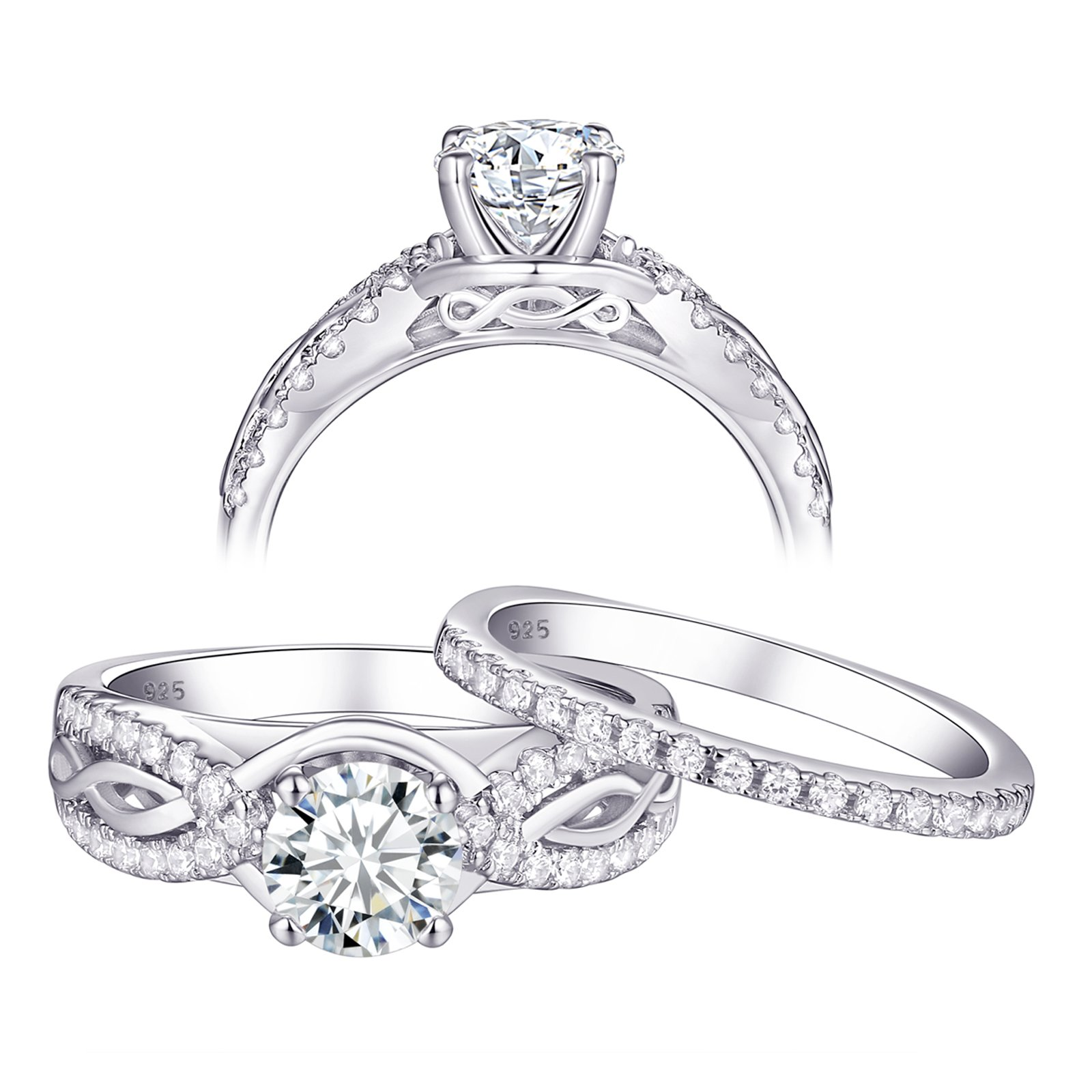 Newshe Engagement Rings Wedding Ring Sets for Women 925 Sterling Silver 1.5ct Round White AAA Cz Size 7