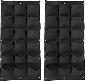 ZOENHOU 2 Pack Total 36 Roomy Pockets Vertical Garden Planter, Wall-Hanging Flower Pot Bags, Felt Wall Mount Balcony Planter Pouch for Herbs, Succulent, Flowers and Vegetables