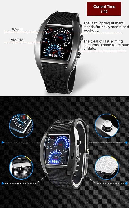 ddc9ed8691e6 Reloj hombre Aviator Estilo Digital Matrix LED (colores surtidos) Version  mejorada  Amazon.es  Electrónica