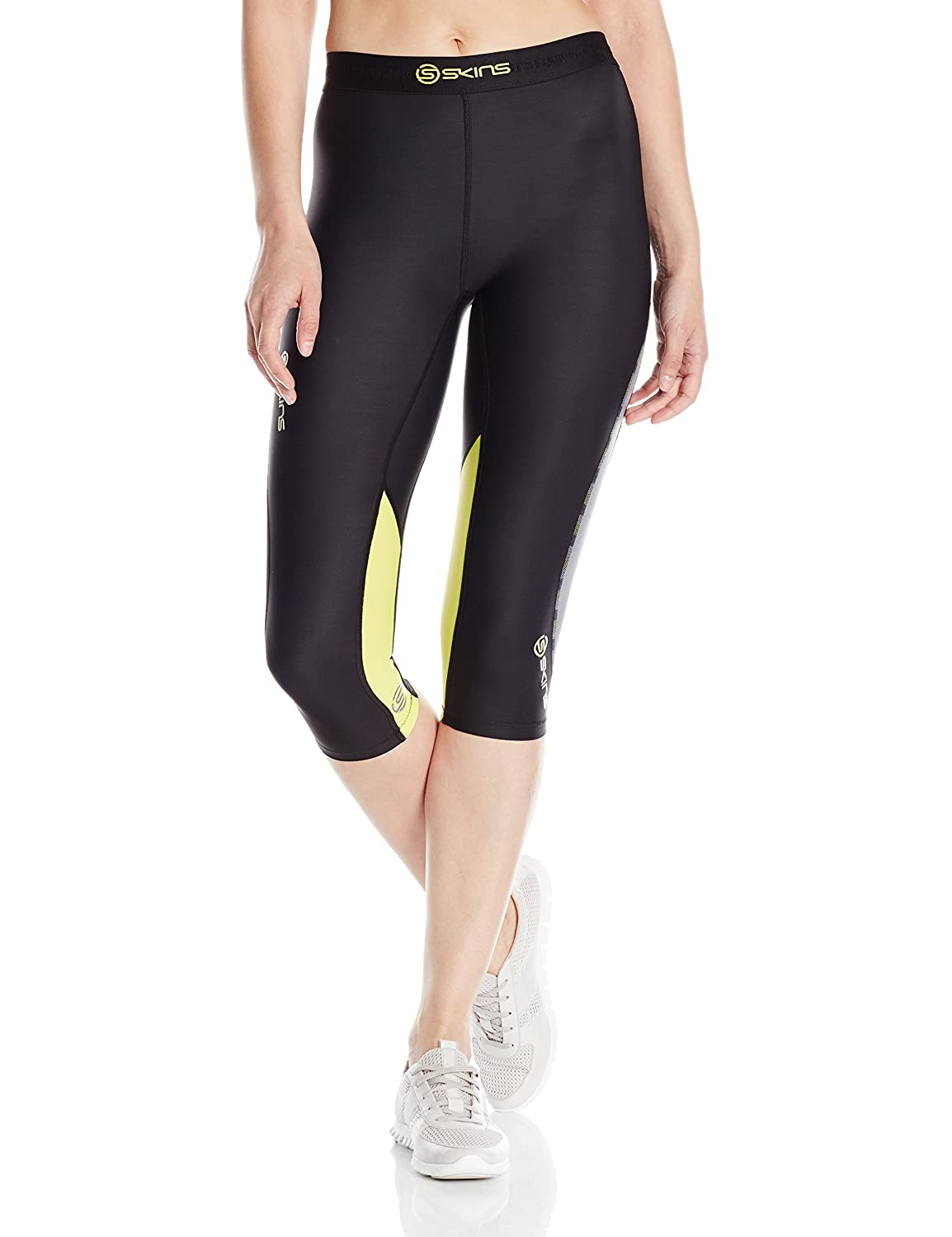 Black Limoncello SKINS Women's DNAmic Compression 3 4 Capri Tights
