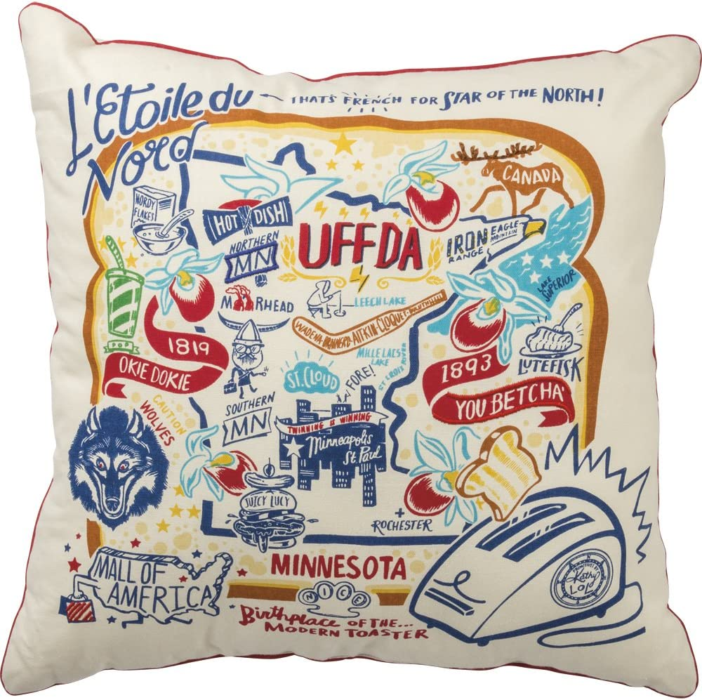 Primitives by Kathy 30523 Home Minnesota State Cotton Decorative Throw Pillow, 20-Inch Square