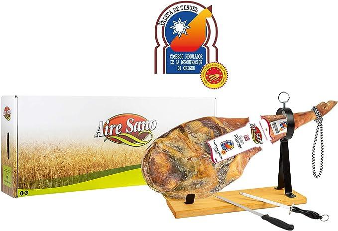Paleta DOP Teruel (4,5-6Kg) Gran Premier de Aire Sano + jamonero + cuchillo + chaira + estuche