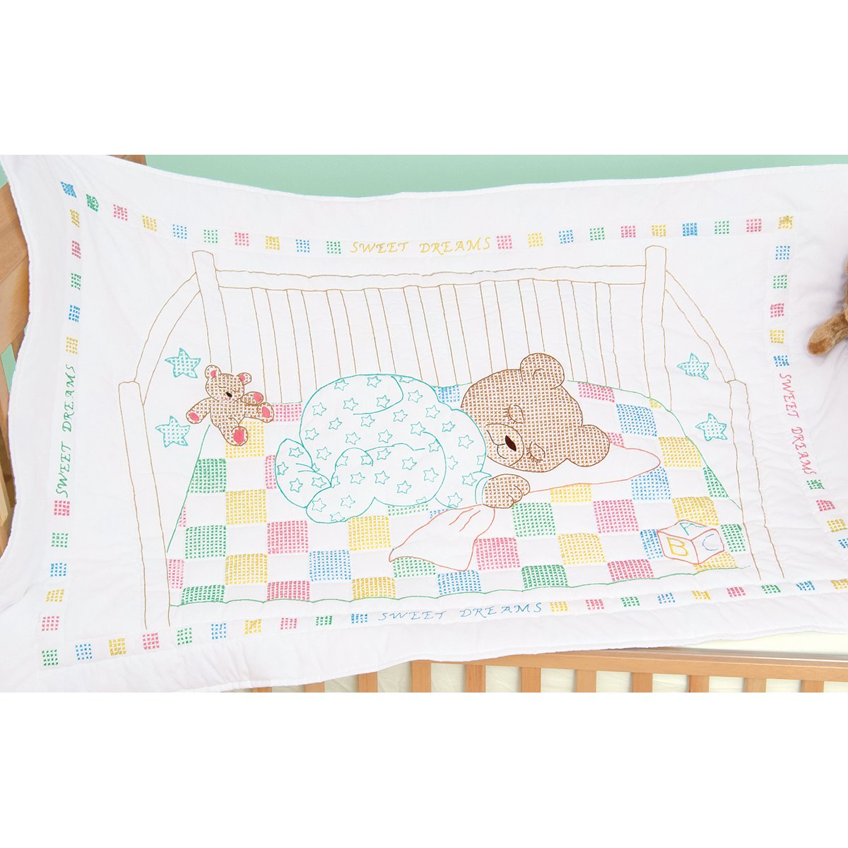 Jack Dempsey Stamped Quilt Crib Top, 40 by 60-Inch, Snuggly Teddy, White 4060 452