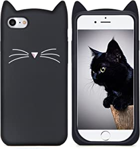 MC Fashion iPhone 6s Plus Case, Cute 3D Black Meow Party Cat Ears Kitty Whiskers Soft Silicone Case for iPhone 6s Plus (2015) & iPhone 6 Plus (2014) (Black)