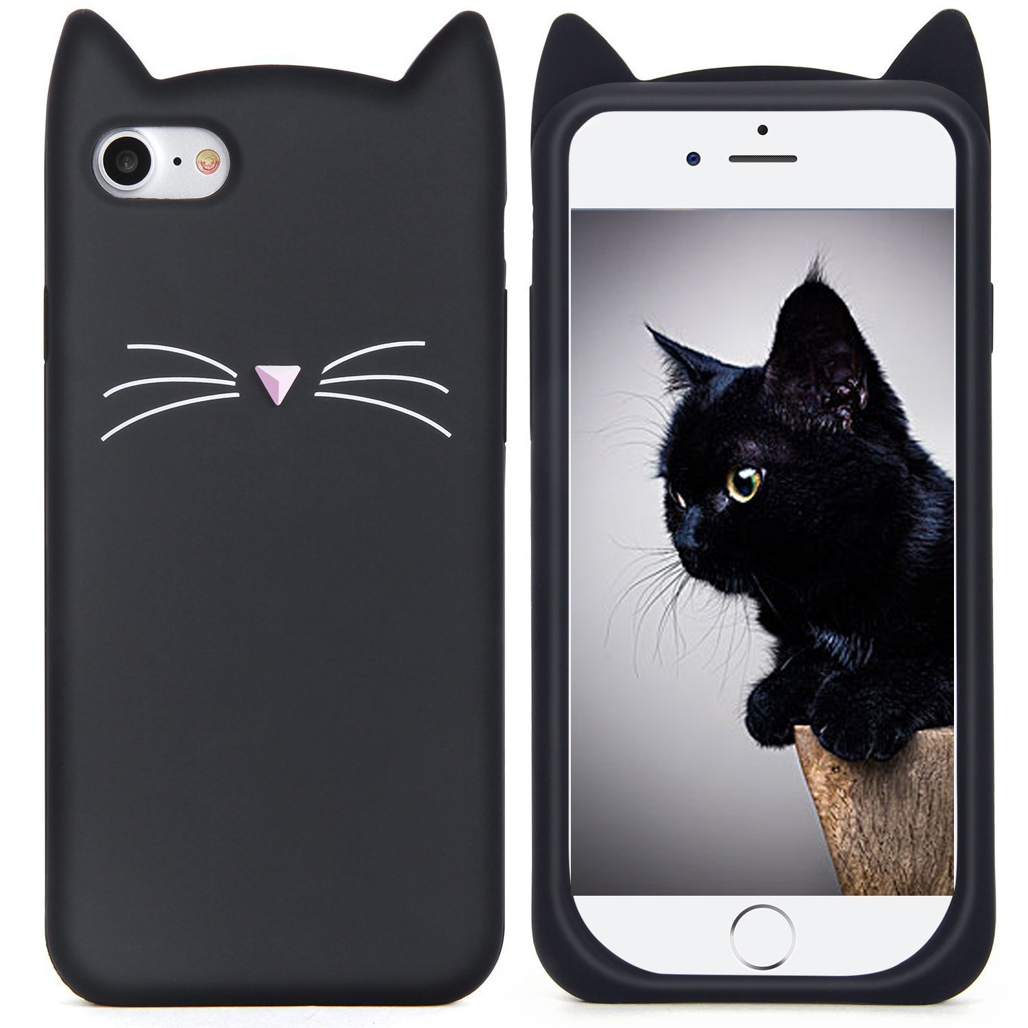 brand new 0be07 8c508 iPhone 6S Case, MC Fashion Cute 3D Black MEOW Party Cat Kitty Whiskers Soft  Silicone Case for Apple iPhone 6/6S (Cat-Black)