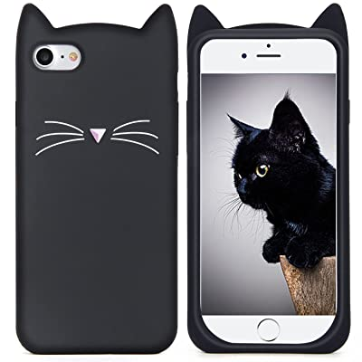 iPhone 6S Case, MC Fashion Cute 3D Black MEOW Party Cat Kitty Whiskers Soft Silicone Case for Apple iPhone 6/6S (Cat-Black)