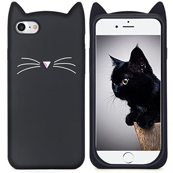 best website 76af3 9c098 iPhone 7 Case, MC Fashion Cute 3D Black MEOW Party Cat Kitty Whiskers  Protective Soft Case Skin for Apple iPhone 7 (2016) (Cat Whisker-Black)