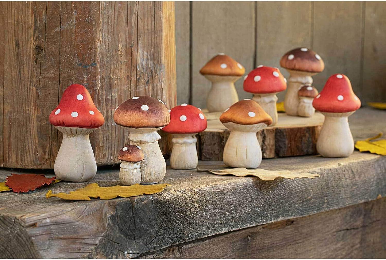 Rostalgie Magnesia Deko-Pilz einzeln naturfarben Gartendekoration Herbst Terrasse Pilze