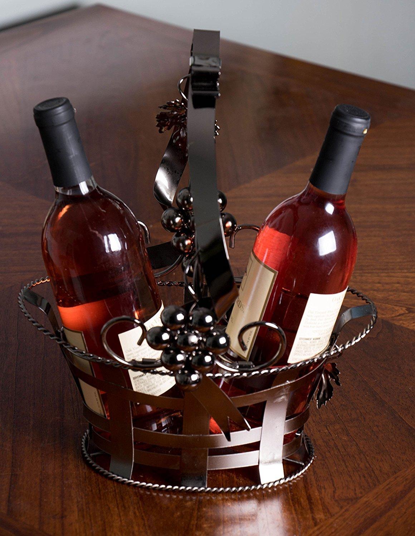 /con capacidad para 2/botellas Premium Metal Ornate cesta de regalo para botella de vino para/