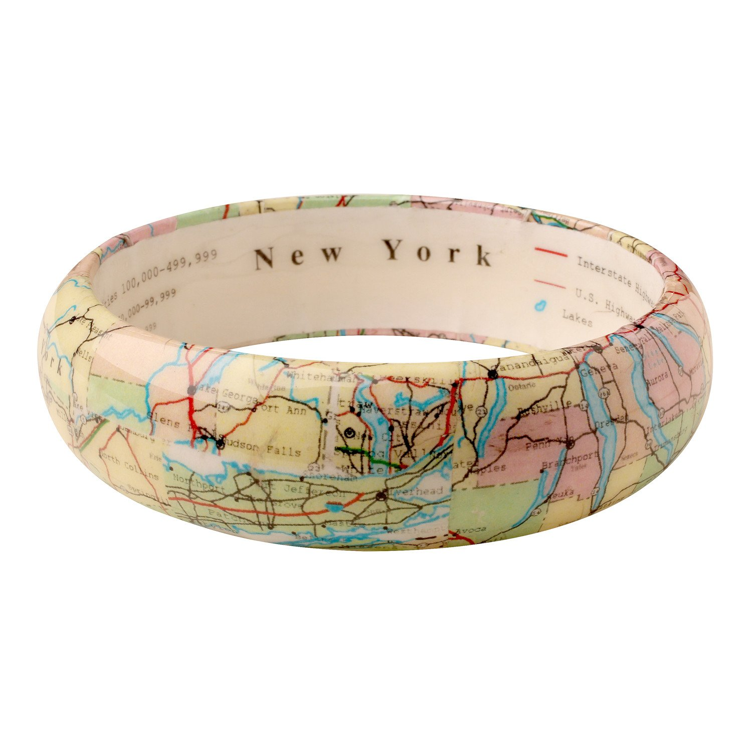 FLORIANA Women's State Map Bangle Bracelet - Clear Resin over Paper Map - New York
