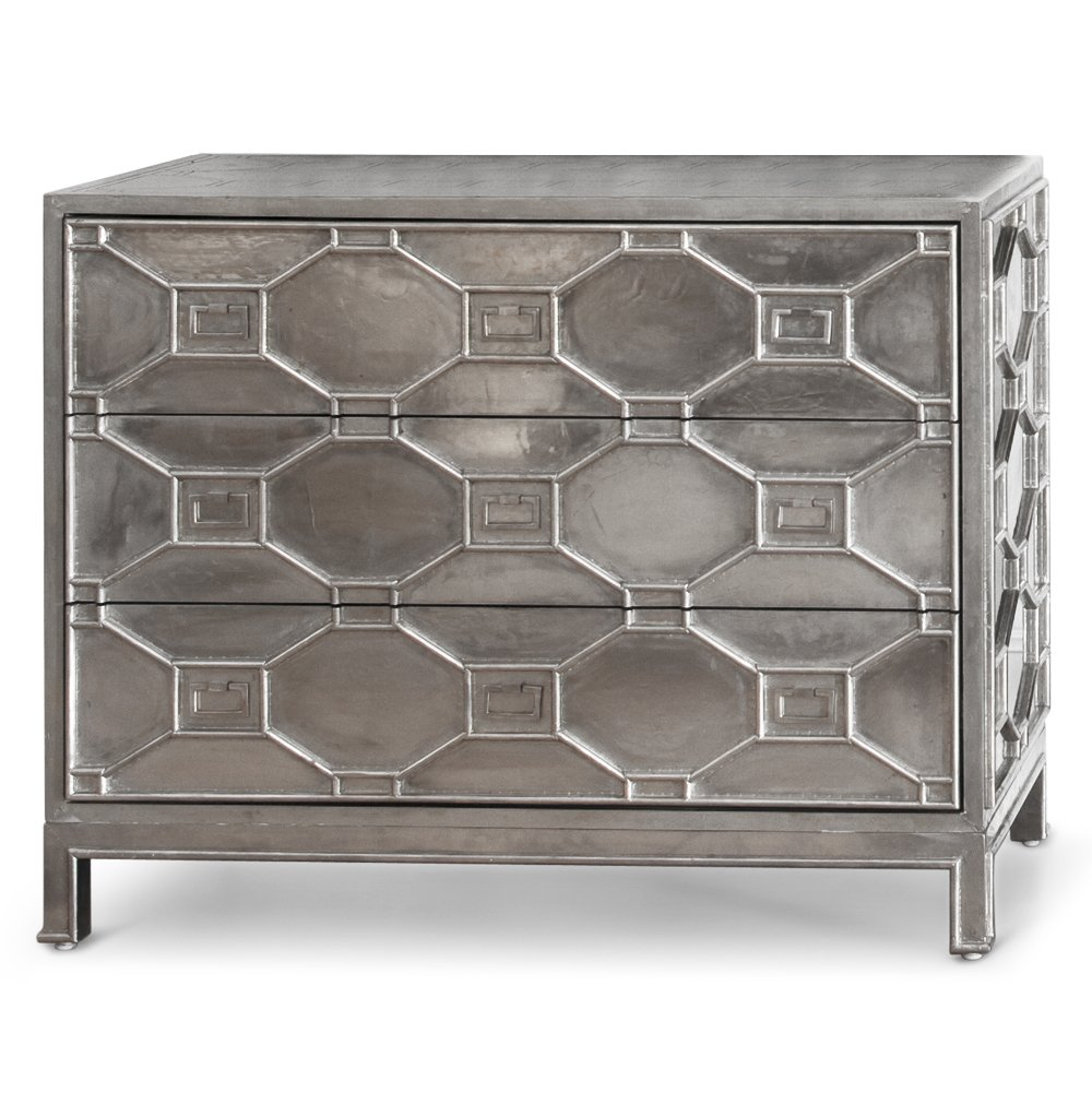 Amazon com  Chatham Hollywood Regency Silver Lattice Metal Clad 3 Drawer  Dresser  Kitchen   Dining. Amazon com  Chatham Hollywood Regency Silver Lattice Metal Clad 3