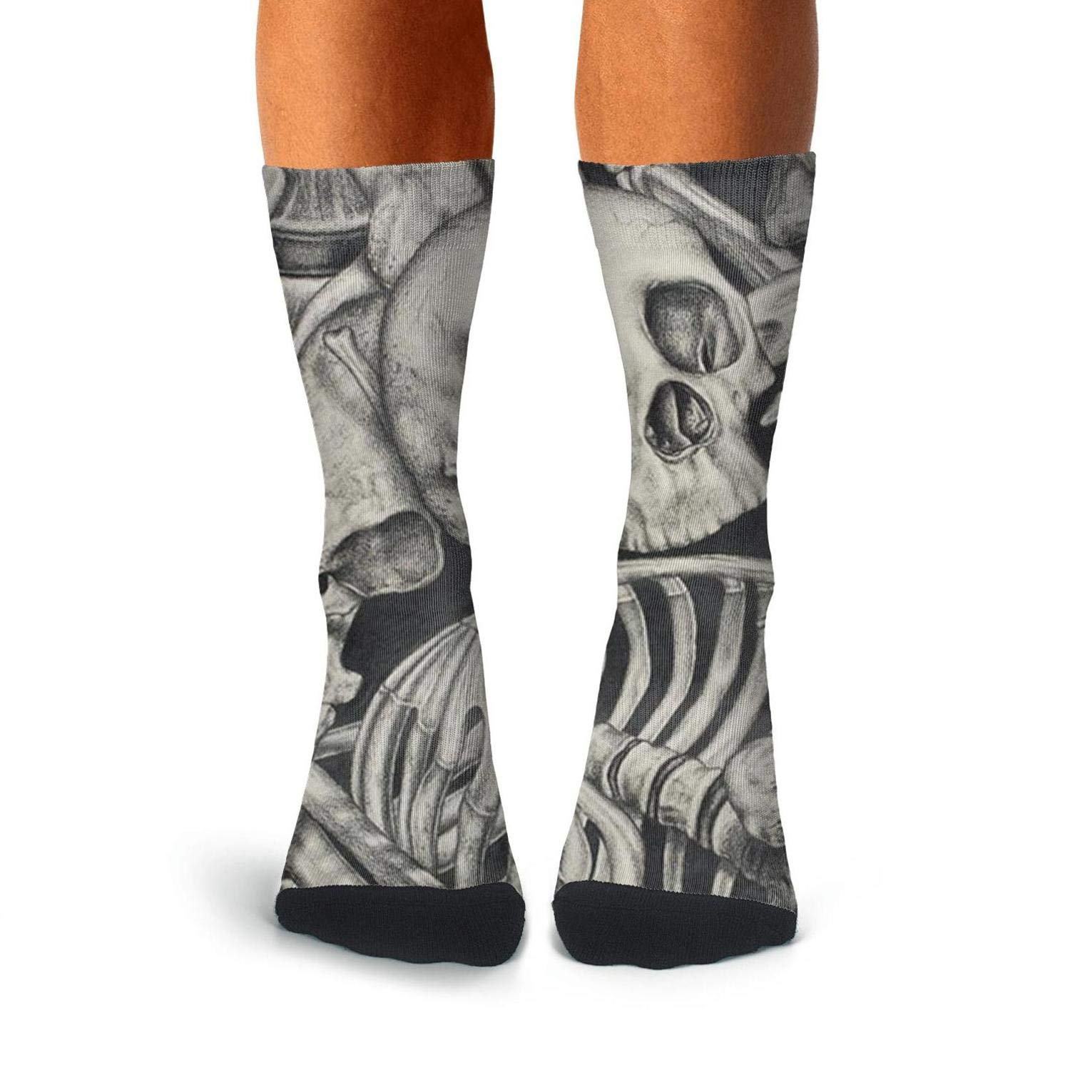 KCOSSH Skeleton Ribcage Unique Calf Socks Casual Crew Sock For Men Knee High Long Stockings