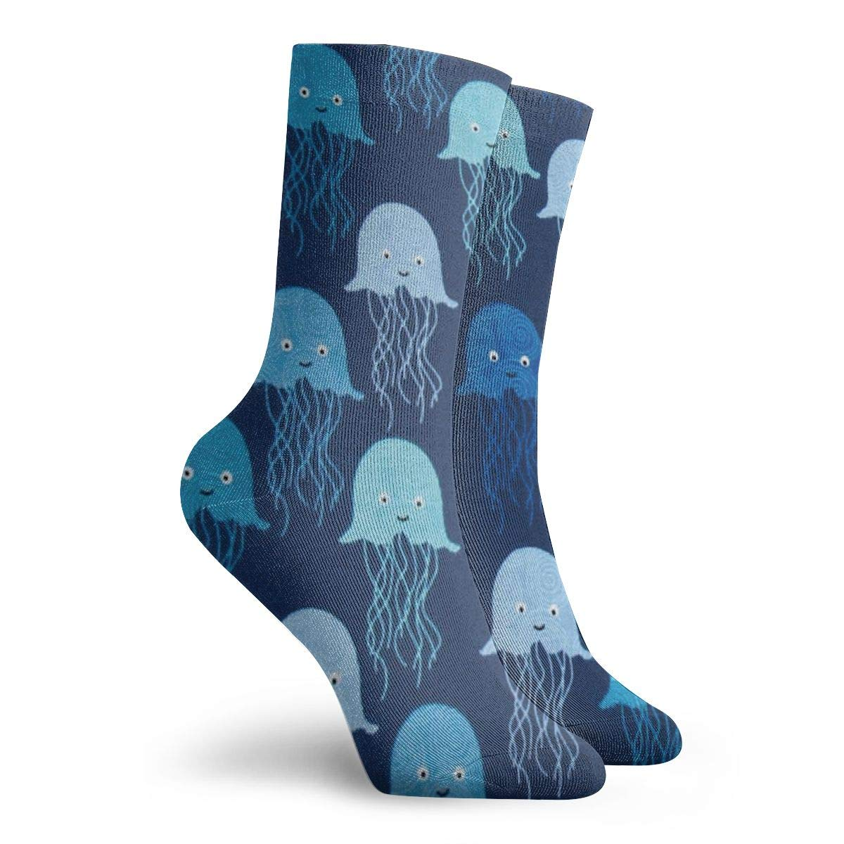 Blue Jellyfish Unisex Funny Casual Crew Socks Athletic Socks For Boys Girls Kids Teenagers