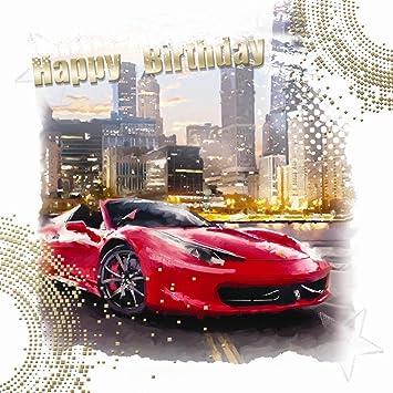 Happy Birthday Red Sports Car City Skyline Design Male Happy