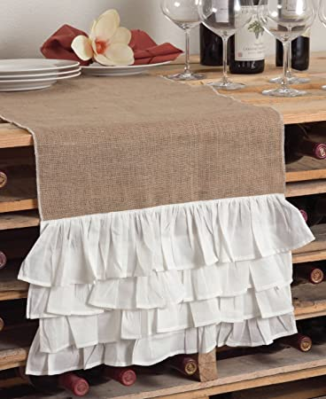 Christmas Tablescape Décor - Creamy white ruffled burlap table runner by Capucine