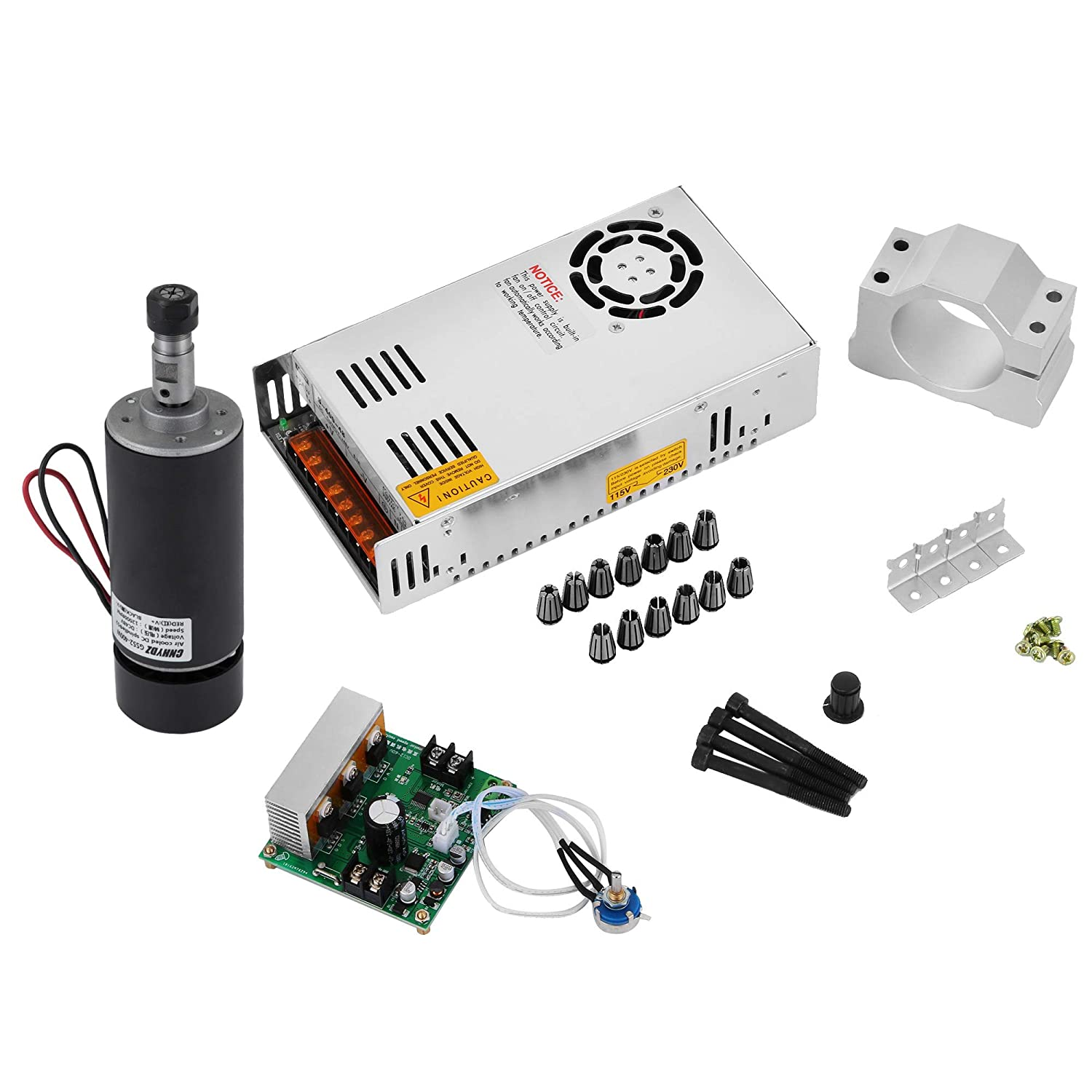 FORAVER Spindle Motor Kit 400W 4 PCS DC CNC Brushless Spindle Motor with 12000RPM PWM Driver Speed Controller and Mount Bracket Engraving Stock (4pcs Set)