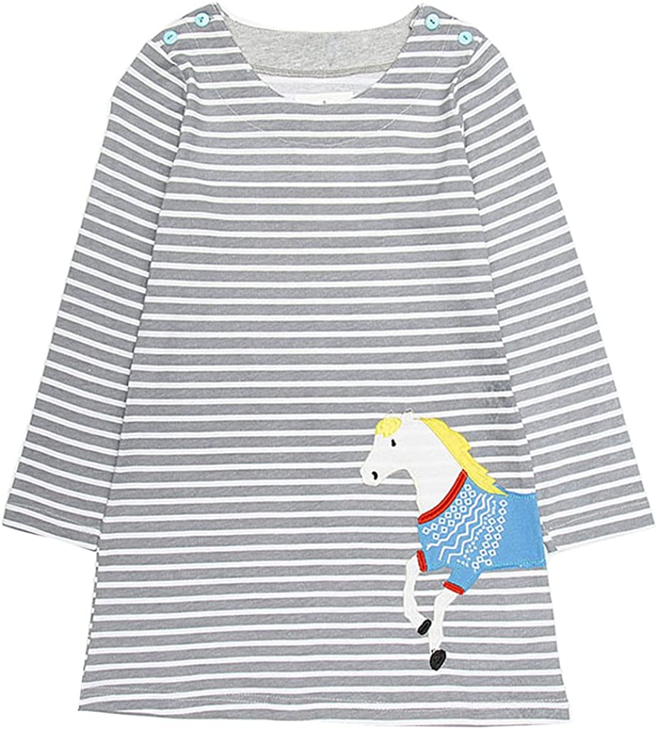Clearance Sale!OverDose Toddler Kids Baby Girls Dress Long Sleeve Cartoon Dresss Tunic Outfits Children Costume