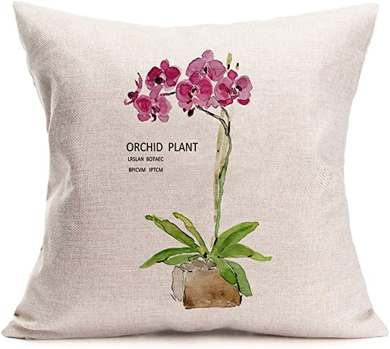 Amazon Com Asminifor Pillow Covers Orchid Plant Printed Spring Floral Decorative Pillow Case Home Decor Square 18 X 18 Inches Throw Pillowcase Orchid Plant Home Kitchen